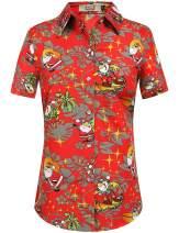 SSLR Women's Tropical Party Casual Ugly Hawaiian Christmas Shirts