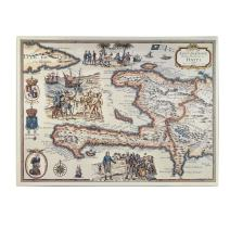 Map of The Island of Haiti 1789, 14 by 19-Inch Canvas Wall Art