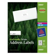 Avery EcoFriendly Mailing Labels for Laser and Ink Jet Printers, 1 x 2.625 Inches, White, Permanent, Pack of 300 (48860)