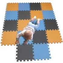 MQIAOHAM Children Puzzle mat Play mat Squares Play mat Tiles Baby mats for Floor Puzzle mat Soft Play mats Girl playmat Carpet Interlocking Foam Floor mats for Baby Orange Blue Grey 102107112