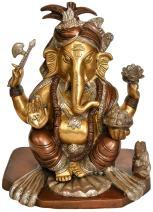 Triple-Hued Turbaned Ganesha - Brass Sculpture