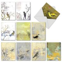 10 Note Cards with Envelopes - Assorted 'Bird Collages' Blank Greeting Cards - Unique All-Occasion Cards for Thank Yous, Retirements, Birthdays - Stationery Notecards 4 x 5.12 inch M2987OCB