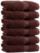 White Classic Luxury Hand Towels | Cotton Hotel spa Bathroom Towel | 16x30 | 6 Pack | Brown