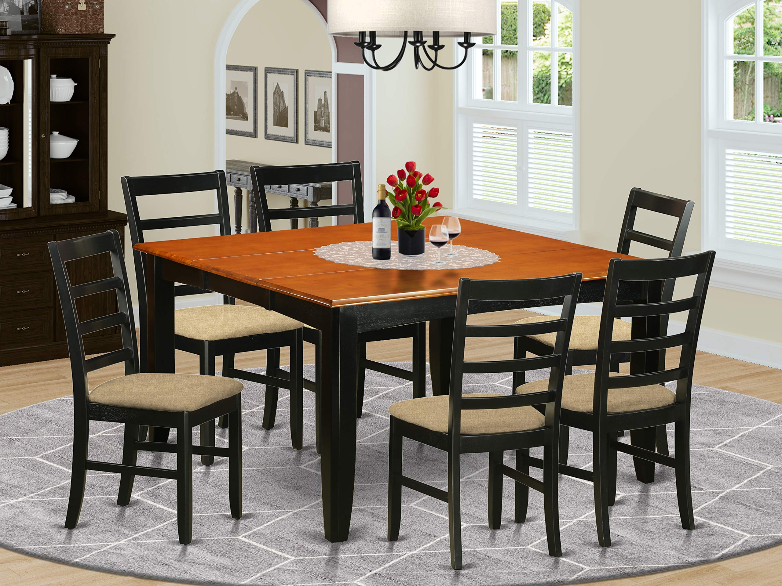 7 PC Kitchen Table set-Dining Table and 6 Wood Dining Chairs