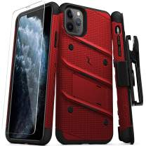 ZIZO Bolt Series iPhone 11 Pro Case - Heavy-Duty Military-Grade Drop Protection w/Kickstand Included Belt Clip Holster Tempered Glass Lanyard - Red