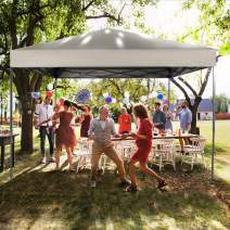 PHI VILLA 10 x 10ft Pop Up Canopy Event Tent Party Tent, 100 Sq. Ft of Shade, Beige