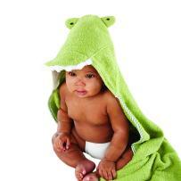 Baby Aspen Splash-A-While Crocodile Hooded Spa-Towel, Green