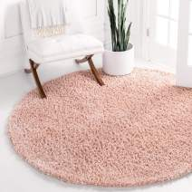 Unique Loom Davos Shag Collection Contemporary Soft Cozy Solid Shag Dusty Rose Round Rug (6' 0 x 6' 0)