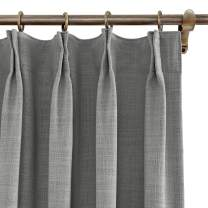 "ChadMade 50"" W x 96"" L Polyester Linen Drapes with Blackout Lining Pinch Pleat Curtain for Sliding Door Patio Door Living Room Bedroom, Rock Grey (1 Panel)"