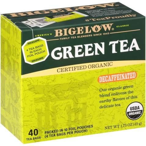 Bigelow Organic Decaffeinated Green Tea, 40 Count (Pack of 6), 240 Tea Bags Total