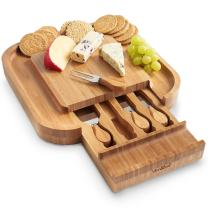 VonShef Square Bamboo Cheese Board Server Plate with slide out 4 Piece Stainless Steel Cheese Knife Serving Utensil Set, Wooden, with Gift Box