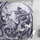 Zussun Nautical Shower Curtain Kraken Octopus Tentacles with Ship Sail Old Boat in Ocean Waves Waterproof Home Decor Bathroom Accessory Sets with 72inx72in Standard Size