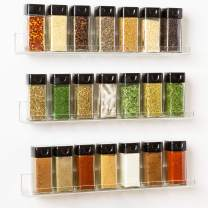 "'Invisible' Acrylic Spice Rack Wall Mount Organizer [3 Pack 15"" Shelves ] New Design With Shelf Ends - Clear, Strong, Sturdy & Space-Saving"