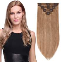 """S-noilite Thicken Long Soft Clip in Human Hair Extensions Double Weft 8pcs 150grams/pack for Full Head 20"""" 100% Real Clips Human Hair Extension #27 Dark Blonde"""