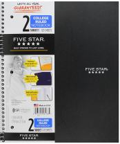 """Five Star Spiral Notebook, 2 Subject, College Ruled Paper, 120 Sheets, 11"""" x 8-1/2"""", Black (06188)"""