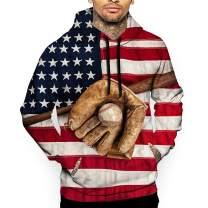 CARRYFUTURE American US Flag Pullover Hoodies Mens 3D Funny Baseball Print Sweatshirt with Pockets