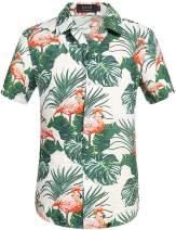 SSLR Men's Flamingos Summer Short Sleeve Tropical Hawaiian Shirt