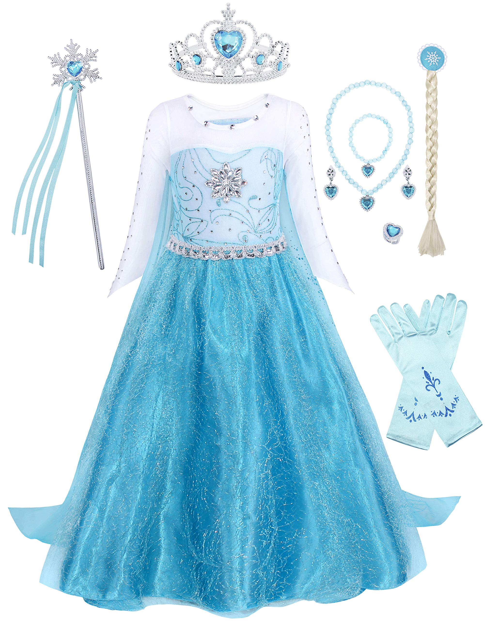 HenzWorld Girl Dress Costume Princess Birthday Party Cosplay Cape Outfits Snowflake Mermaid 2-10 Years