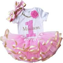 1st First Birthday Girl - Pink Gold Personalized Outfit for Baby Bday