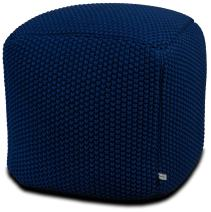 Urban Legacy Crocheted/Knitted Ottoman Pouf (100% Cotton, Handmade, Square, Beautiful, Soft and Lightweight, Available in Four Colors) (Blue)