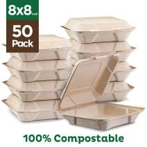 """100% Compostable Clamshell Take Out Food Containers [8X8"""" 50-Pack] Heavy-Duty Quality to go Containers, Natural Disposable Bagasse, Eco-Friendly Biodegradable Made of Sugar Cane Fibers"""