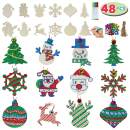 JOYIN 48 Pack Wooden Christmas Ornaments Craft Kit for DIY, Blank Christmas Hanging Ornaments Unfinished Wood Cutouts for Holiday Gifts and Christmas Decorations