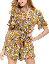 Abollria Casual Romper Jumpsuit Shorts for Women Short Sleeve V Neck Floral Print Tie Waist Summer Beachwear
