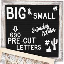 Felt Letter Board 10x10 | +690 PRE-Cut Letters +Stand +Upgraded Wooden Sorting Tray | Black Rustic Farmhouse Letterboard with Cursive Words, Letter Boards, Word Board, Message Board, Changeable Sign