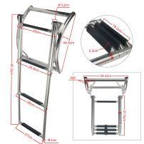 Amarine Made 3 Step Rib Ladder Stainless Steel Telescoping Swim Step Rubber Boat Ladder