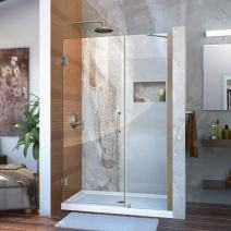 DreamLine Unidoor 42-43 in. W x 72 in. H Frameless Hinged Shower Door with Support Arm in Brushed Nickel, SHDR-20427210C-04