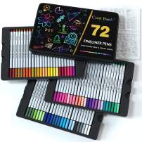 72 Fineliner Pens with 20 PCS Journal Stencils, 0.4mm Journal Planner Pens, Colored Pens, Fine Tip Markers for Journaling, Writing Note, Adult Coloring Books Art Office Supplies in Tin Box