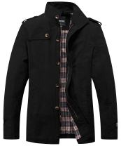 Wantdo Men's Cotton Classic Military Jacket Durable Stand Collar Chore Coat