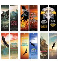 Creanoso Strong Character Eagle Bookmarks (12-Pack) – Premium Quality Set – Inspiring Word Sayings Quotes for Men, Women, Leaders, Coaches, Businessman, Adults– Six Bulk Assorted Bookmarks Designs