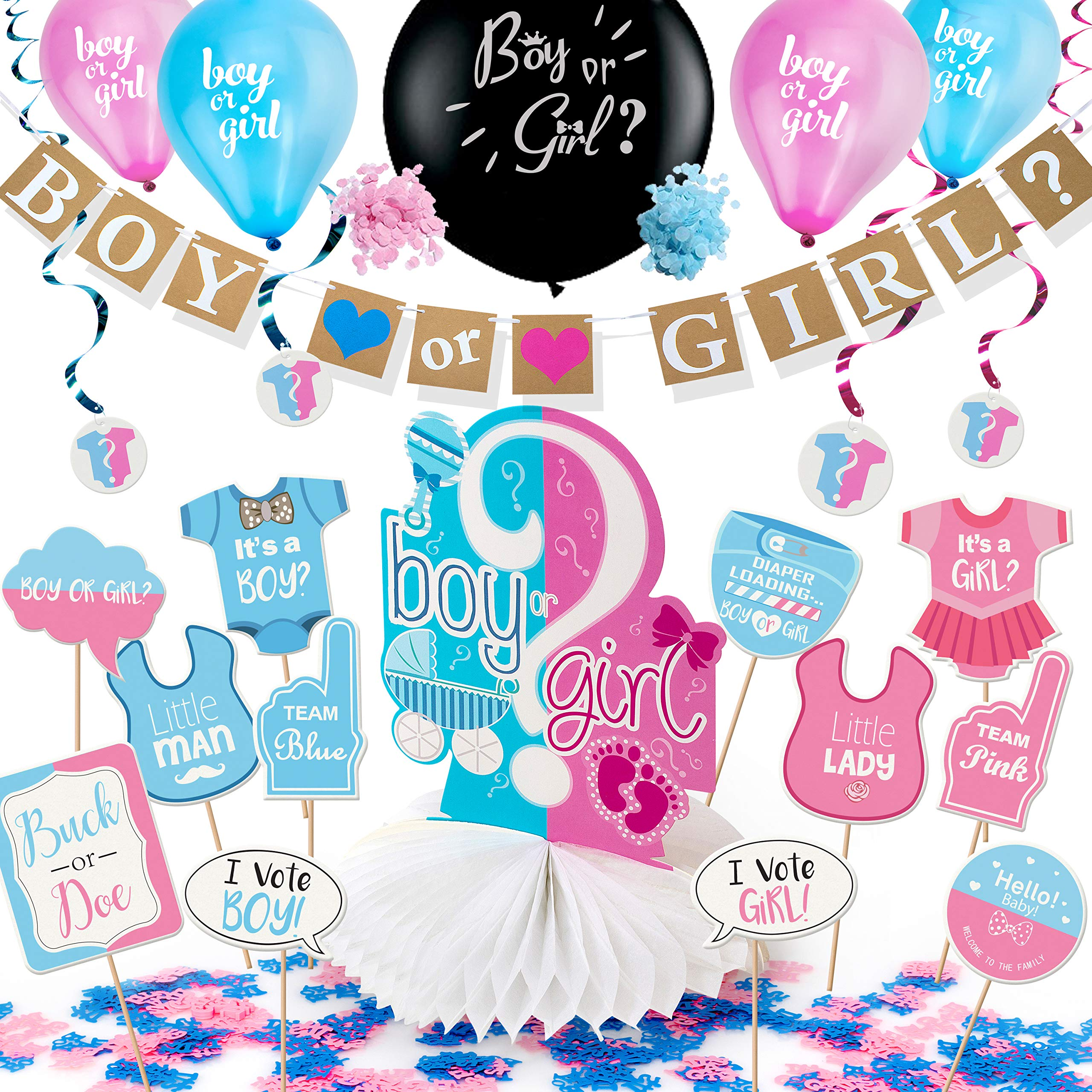 Gender Reveal Party Supplies Pack by ARTIT with 36' Big Black Balloon, Pink and Blue Confetti - Baby Shower Decorations Kit with Boy or Girl Favors - Banner Centerpiece Swirls Tablecloth Photo Props