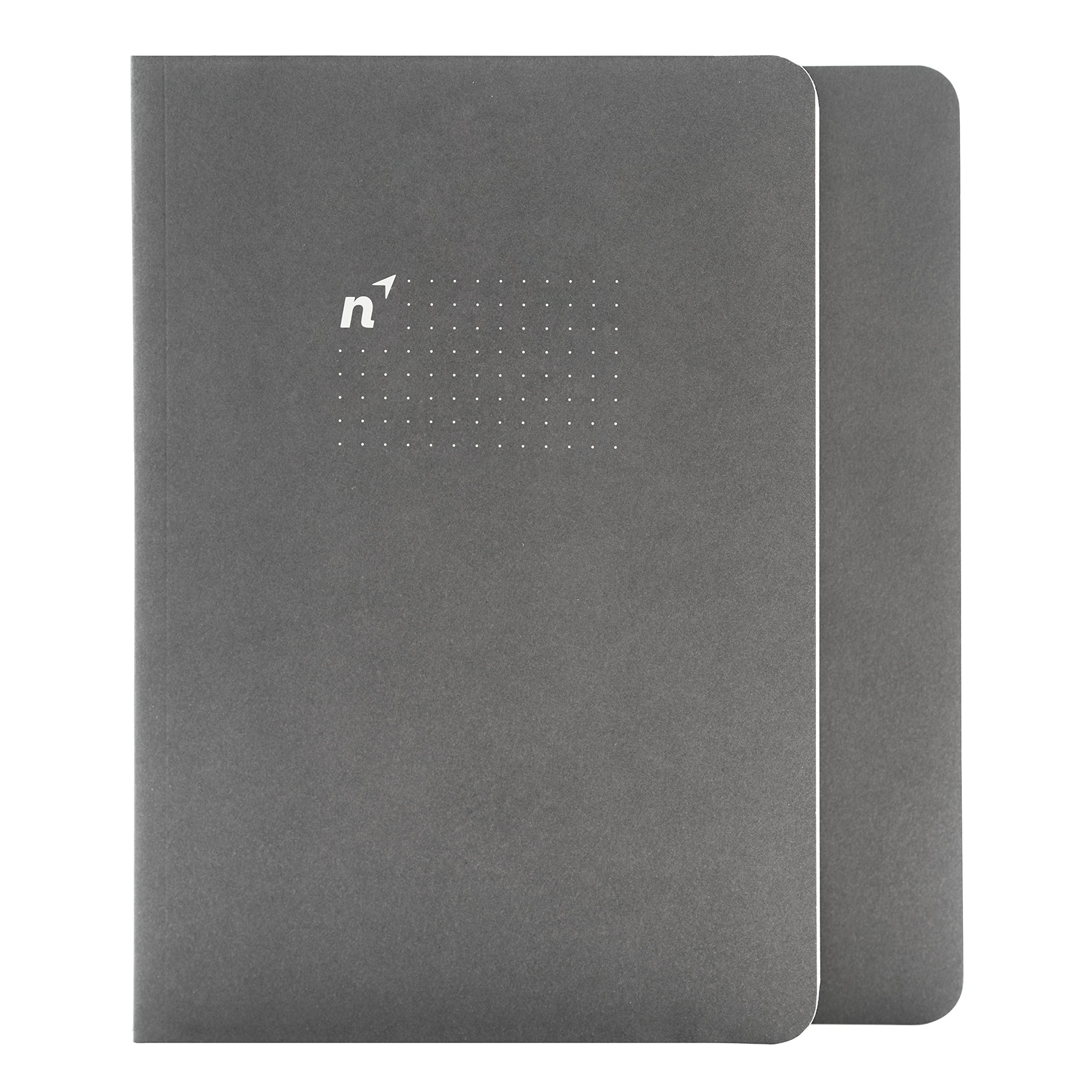 Northbooks USA Eco A5 Dotted Bullet Notebook/Sewn Journal | 144 5mm Dot Grid Pages | Notepad for School, Work, Travel or Personal Use | Premium Recycled Cream Paper | 5.8 x 8.2 inch, 2 Pack