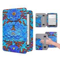 Dadanism Case Fit All-New Kindle 10th Generation 2019 / 8th Generation 2016, Ultra Slim PU Leather Smart Cover with Hand Strap & Pocket, Not Fit Kindle Paperwhite – Kingfisher Blue (Auto Sleep/Wake)
