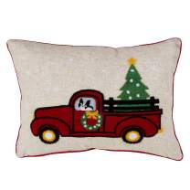 """SARO LIFESTYLE Rouge Collection Vintage Red Truck Poly Blend Christmas Pillow with Down Filling, 14"""" x 20"""", Wreath"""