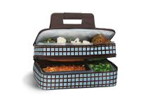 """Picnic Plus 18"""" Casserole Carrier 2 Level Thermal Insulated Hot and Cold Food Carrier Double Layer Food Carrier Bag Potluck Carrier With Bonus Containers (Blue Oyster)"""