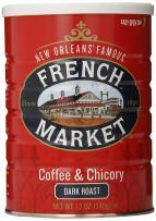 French Market Coffee, Coffee & Chicory, Dark Roast Ground Coffee, 12 Ounce Metal  Can