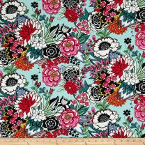 Alexander Henry Aqua Garden at Coyoacan Floral Fabric by The Yard