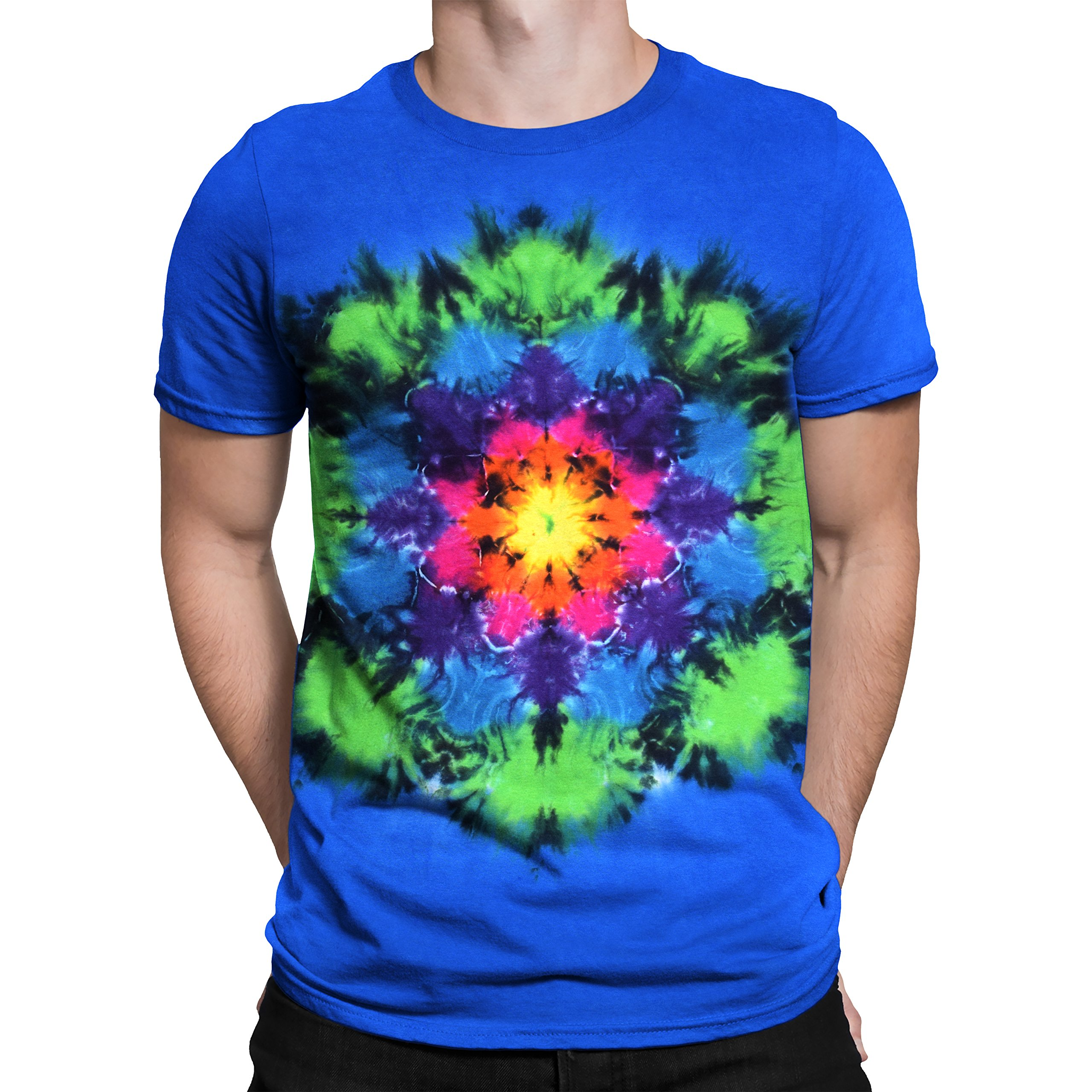 Liquid Blue Unprinted Rainbow Mandala Tie Dye Short Sleeve T-Shirt