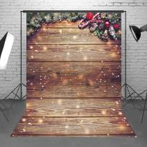 Demohome 6X8ft Durable Fabric Snowflake Glitter Christmas Rustic Wood Wall Photography Backdrop Xmas Wooden Floor Background for Christmas Birthday Party Kids Portrait Photo Studio Booth Props