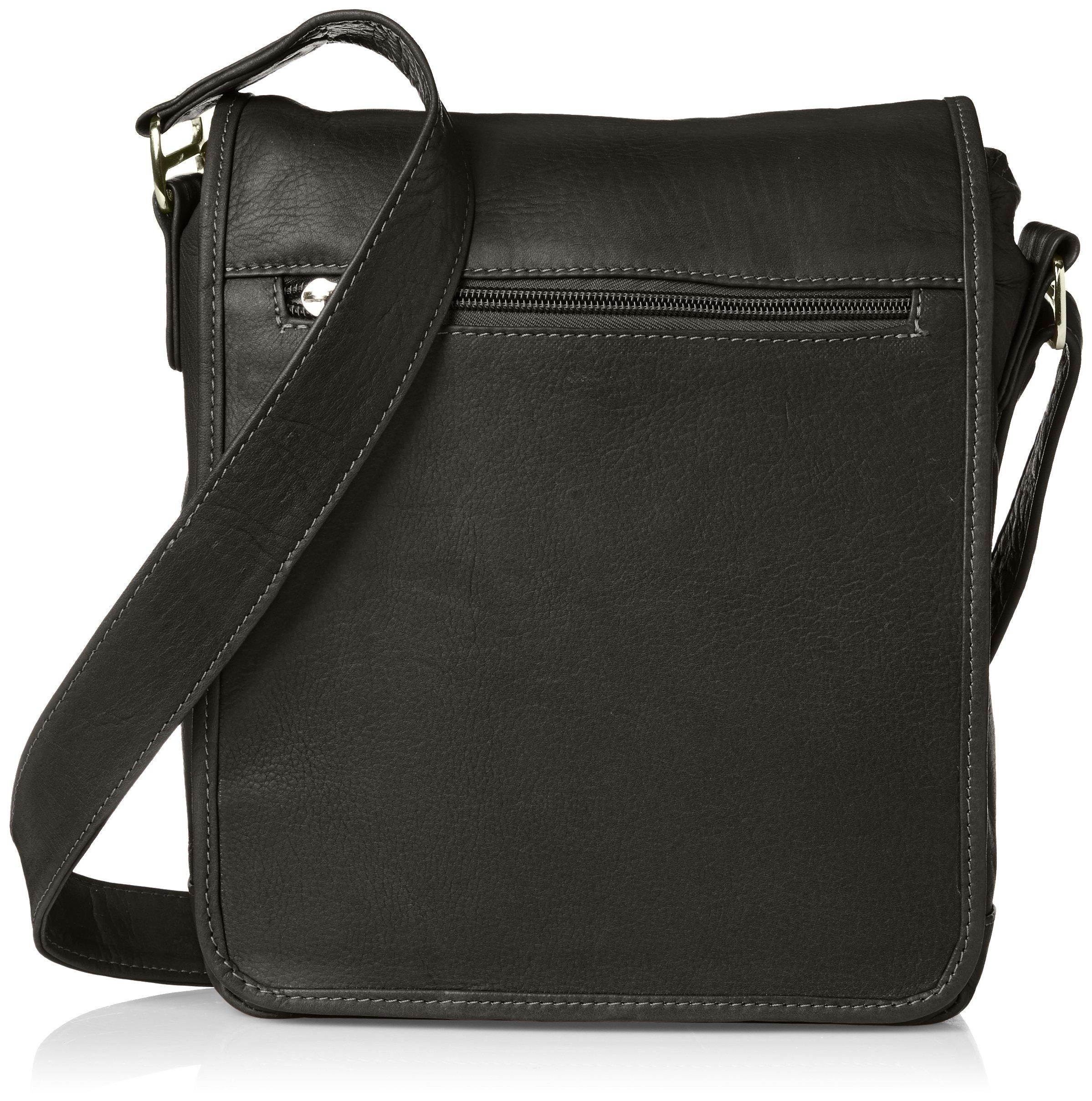 Piel Leather iPad Tablet Shoulder Bag, Black, One Size