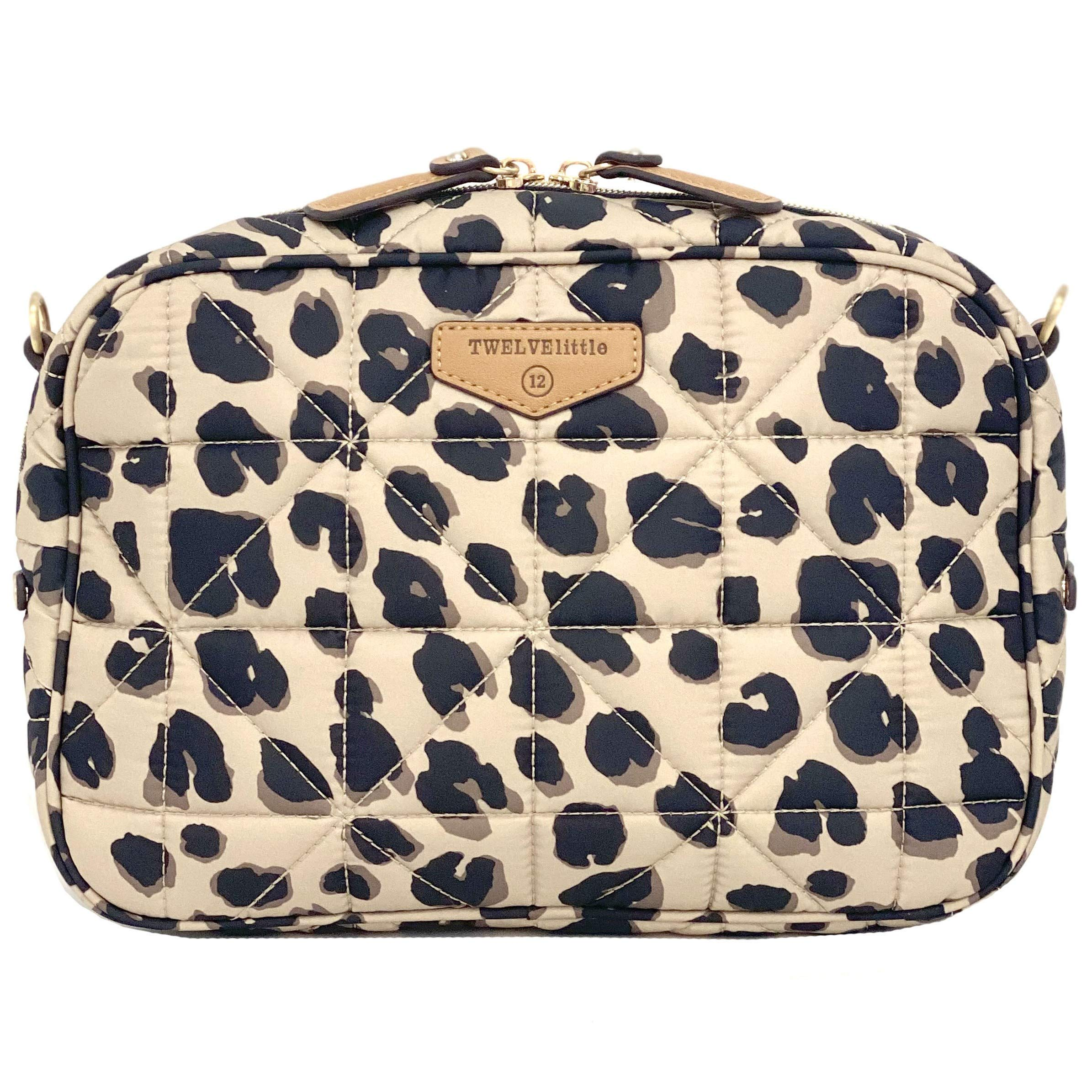 TWELVElittle Diaper Clutch 3.0, Leopard Print (New) - Fashion Diaper Bag for Moms and Dads, Worn As Clutch or Crossover Bag with Compartments for Diapers, Wipes and Changing Pad