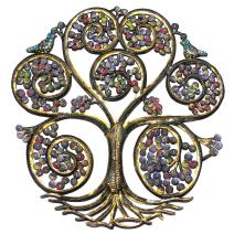 "Global Crafts 24"" Recycled Hand-Painted Haitian Metal Wall Art Tree of Life, Autumn Spiral"