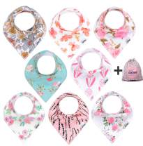 8-Pack Baby Bandana Drool Bibs for Drooling and Teething, 100% Organic Cotton, Soft and Absorbent,Bibs for Baby Girls - Baby Shower Gift Set by Ana Baby …