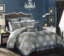 Chic Home 9 Piece Aubrey Decorator Upholstery Quality Jacquard Scroll Fabric Bedroom Comforter Set & Pillows Ensemble, Queen, Blue