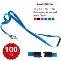 Durably Woven Lanyards with Safety Breakaway ~Premium Quality, Smoothly Finished for Skin-Friendly Comfort~ for Moms, Teachers, Tours, Events, Cruises & More (100 Pack, Blue) by Stationery King