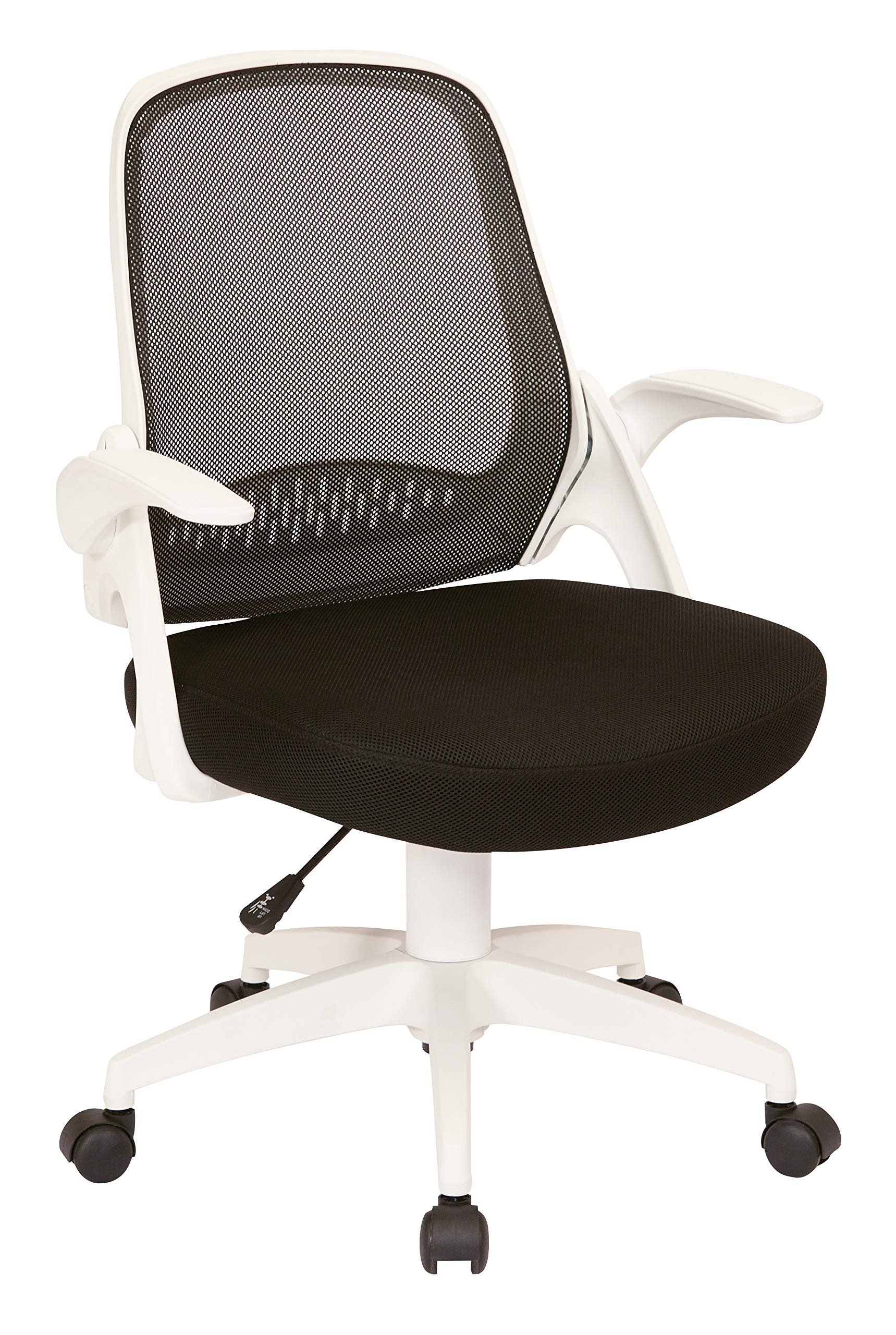AVE SIX Jackson Mesh Back and Padded Mesh Seat Office Chair with Folding Arms and White Accents, Black