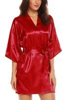 ELOVER Women Bridesmaids Robe Satin Wedding Kimono Bridal Dressing Gown Short Lounge Sleepwear